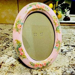 🌸 Terragraphics Oval Floral Pink Picture Frame